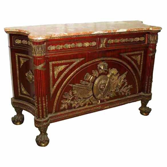 6458 Monumental 19th C. French Marble Top Commode
