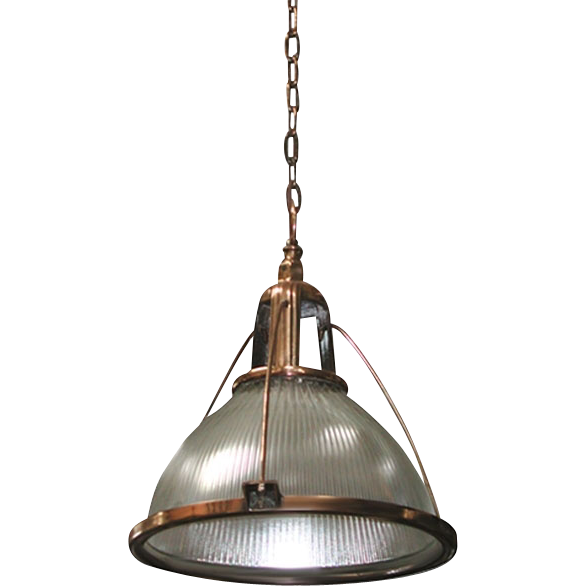 "Original 21"" Red Brass or Nickel Plated Holophane Light Fixture"