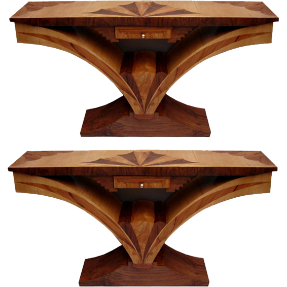 6468 Pair of Beautiful Inlaid Art Deco Consoles