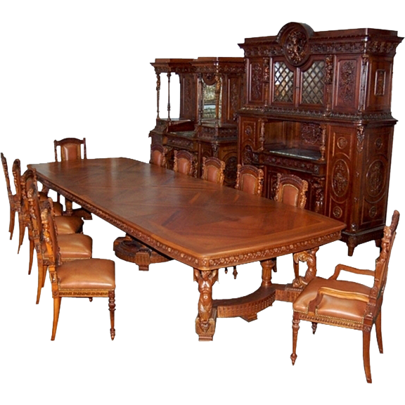 6484 19th C. Italian Walnut Carved Figural 15-Piece Dining Suite in Mannerist Style