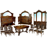 6485 Carved Figural 12-piece Dining Suite in Walnut