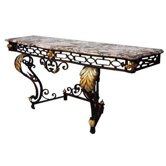 6488 Fabulous French Art Deco Wrought Iron Console with Marble Top