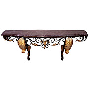 6489 Fabulous French Art Deco Wrought Iron Console with Marble Top