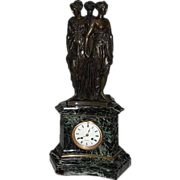 6492 Bronze & Marble Mantel Clock of The Three Graces