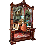 6496 Fabulous Walnut Hall Mirror with Porcelain Plaque on Crest