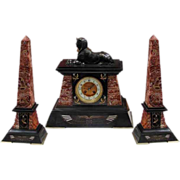6501 Garniture Empire Black & Burgundy Clock Set