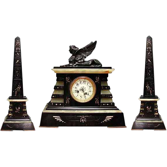 6502 Garniture Empire Black & Green Clock Set