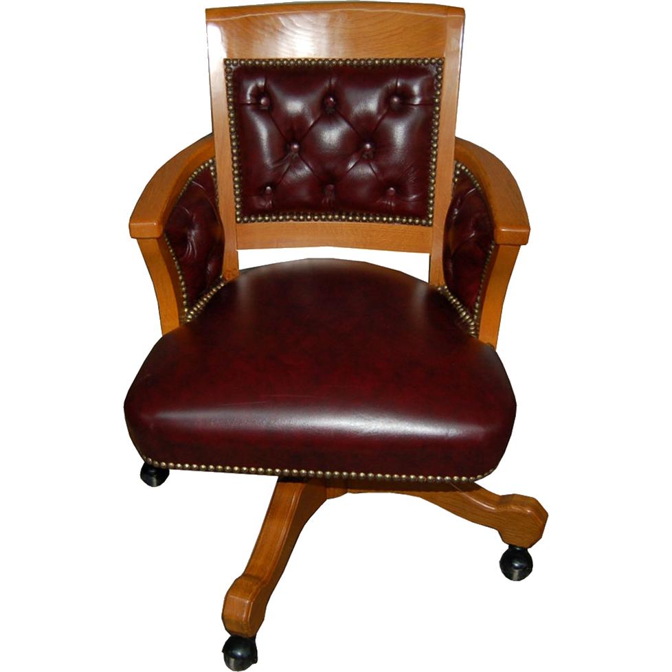6508 Oak Swivel Chair in Burgundy Leather