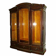 6521 American Renaissance Rosewood 3-Door Bookcase with Fabulous Birds Eye Maple Interior