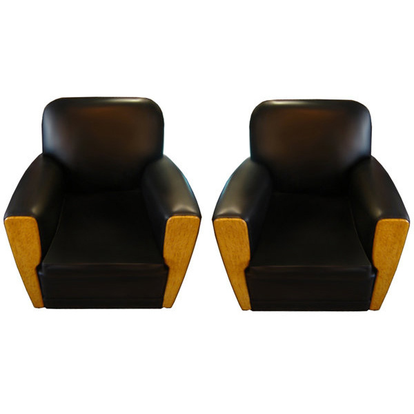 6531 Pair of Art Deco Chairs in Black Leather c. 1920