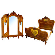 6537 Louis XV Bed & 3-Door Armoire