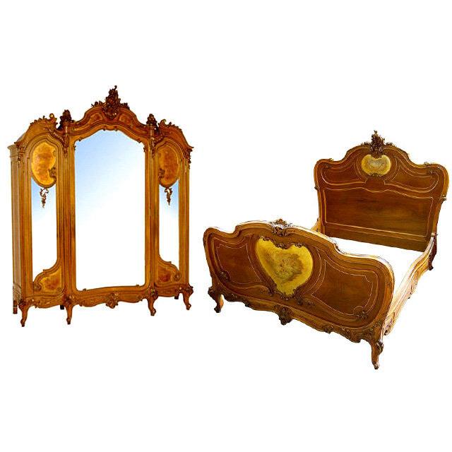 6537 Louis XV Bed & 3-Door Armoire