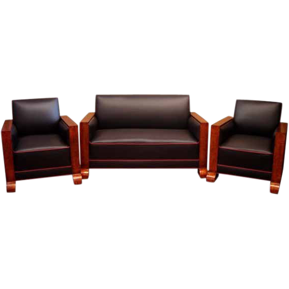 6547 3-Piece Art Deco Couch Set In Black Leather with Red Piping c. 1930