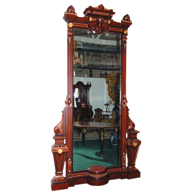 6556 American Renaissance Burled Walnut Marble Top Parlor Mirror by Pottier & Stymus