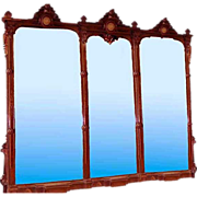 6563 Monumental 19th C. Renaissance American Walnut 11' Triptych Mirror w/Bronze Plaques