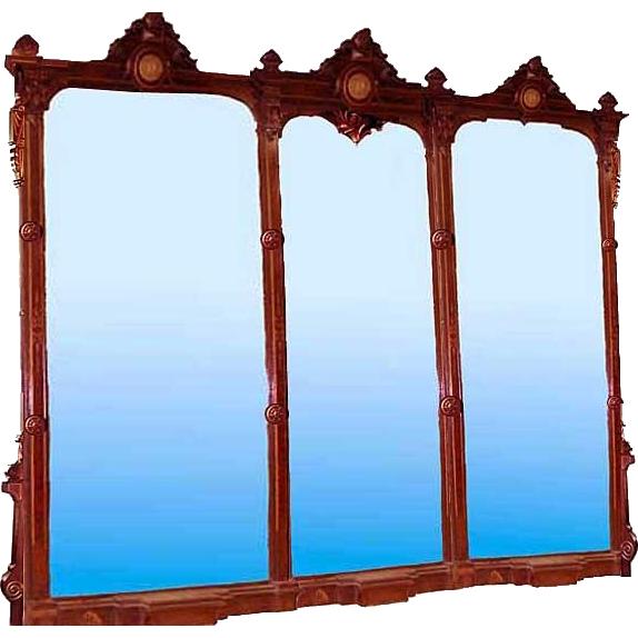 6563 Monumental 19th C. Renaissance American Walnut 11' Triptych Mirror w/Bronze Plaques