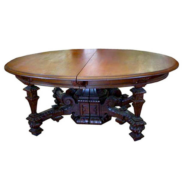 6568 Antique 19th C. Victorian Oak Table with Square Legs & Lion Heads
