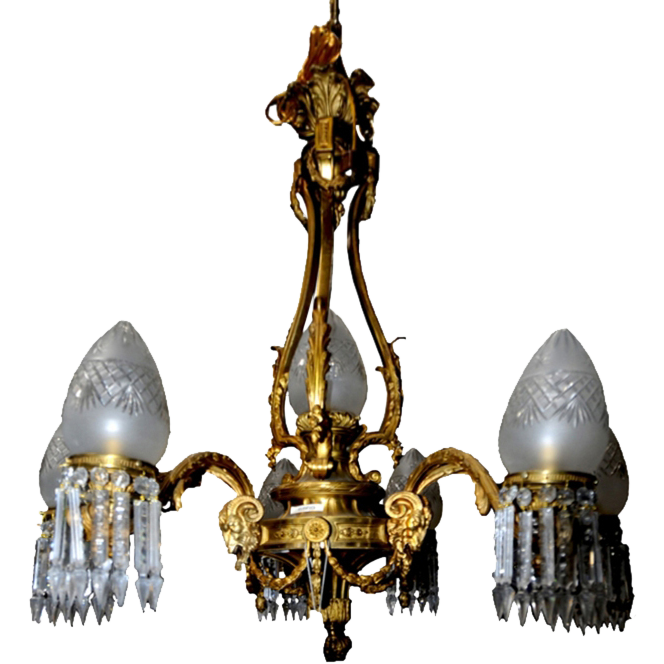 6569 Cast Bronze Six Arm Chandelier with Goat Head & Glass Bullet Shades