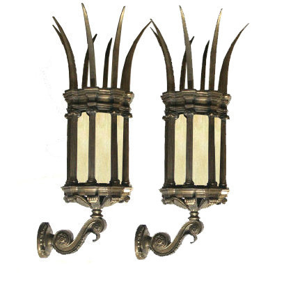 6593 Pair of 19th C. Spiked Lantern Sconces with Amber Colored Opaque Glass.