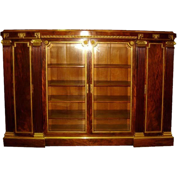 6610 19th C. French Empire Bookcase with Greek Key