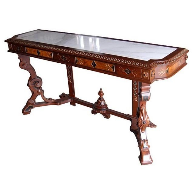 6622 Rare American Renaissance Revival Console Table with Inset Marble Top