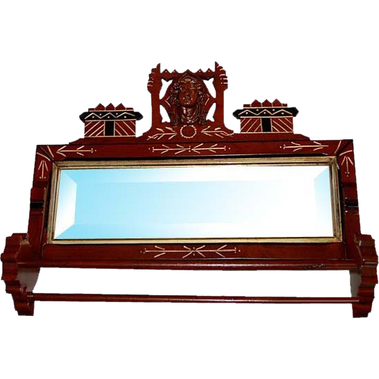 6623 Fabulous 19th C. Antique American Victorian Towel Bar & Mirror