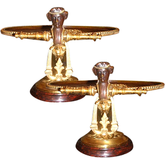 6643 Pair of Antique Bronze Sculpture Handled Plates on Stands