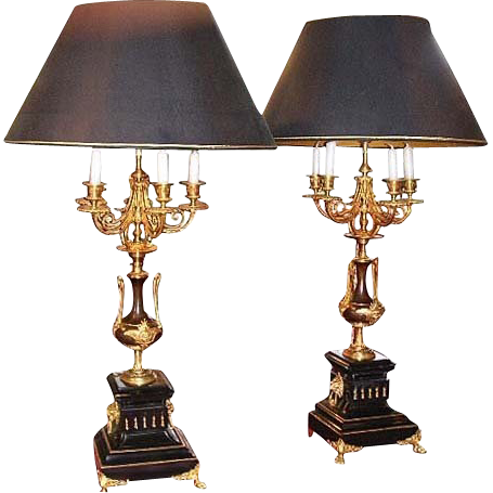 6647 Beautiful Pair of Bronze Lamps with Marble Base