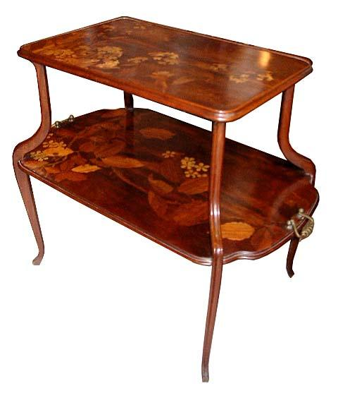6650 Spectacular Two-Tier Inlaid Art Nouveau Table by Majorelle