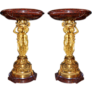 "6657 Pair of Bronze & Marble ""Griotte"" Urns by H. Picard"