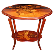 19.6658 Spectacular Two-Tier Inlaid Art Nouveau Table by Gallé