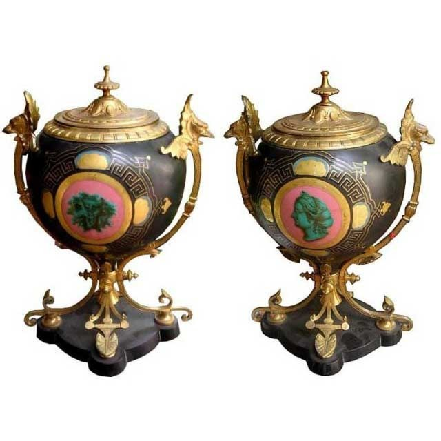 6664 Pair of Antique 19th C. Urns with Marble Base & Mythological Panel