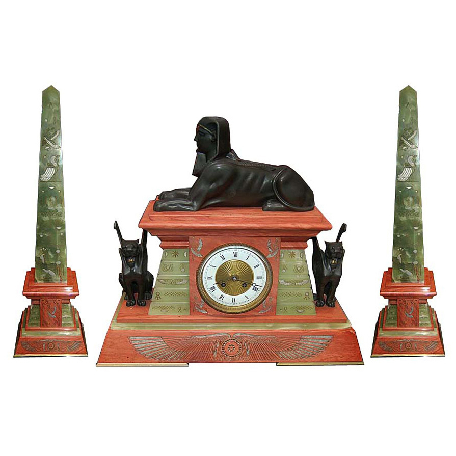 6670 French Egyptian Revival Clock with Obelisks c.1875