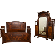6671 Art Nouveau Majorelle Bed, Armoire and Pair of Nightstands, with Marquetry and Carved Decoration