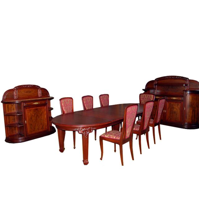 """6676 French 9-Pc. Art Nouveau Dining Suite """"La Vigne"""" By Louis Majorelle"""