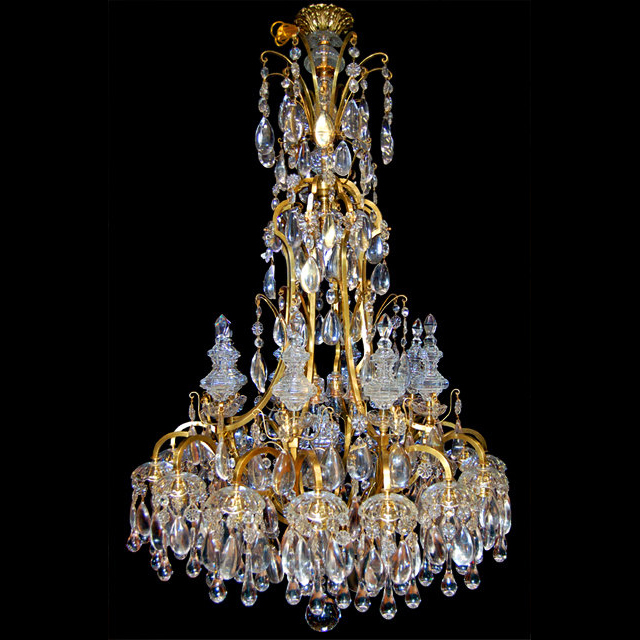6678 19th C. Bronze and Crystal Chandelier