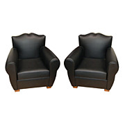 "6685 Pair of Art Deco ""Moustache"" Armchair Upholstered in Leather"