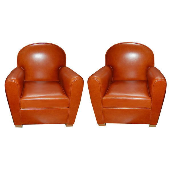 6686 Pair of Art Deco Round Armchair Upholstered in Leather