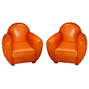 "6687 Pair of Art Deco ""Dome Top"" Armchair Upholstered in Leather"