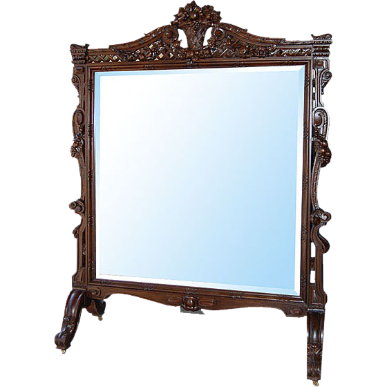 6698 Fabulous Antique Standing French Chevelle Mirror c. 1880
