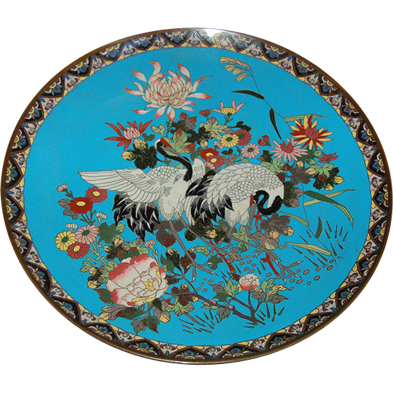 6744 19th C. Cloisonné Charger with Birds & Flowers