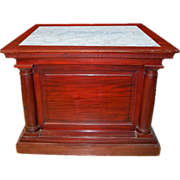 6746 Marble Top Pedestal Executed in Mahogany