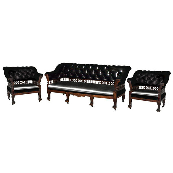 6754 Aesthetic Movement Walnut Carved 3-Piece Parlor Set