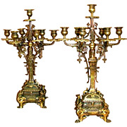 6760 Pair of 19th C. Cast Bronze Figural Candelabras With Griffins