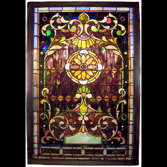6762 Stunning 19th C. American Stained Glass Landing Window