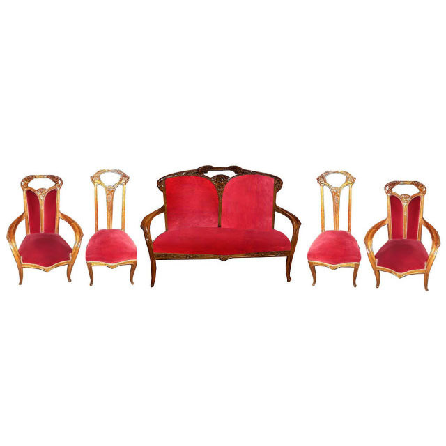 6768 Significant French Art Nouveau 5-piece Salon set  by Louis Majorelle, c. 1900