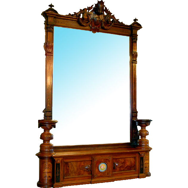 6771 Magnificent Antique Oversized Inlaid Pier Mirror with Side Pedestals