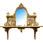 6783 Vintage Onyx and Brass Mirrored Wall Shelf
