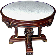 6790 American Renaissance Revival Rosewood Marble Top Center Table