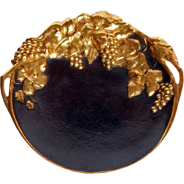 6804 Art Nouveau Bronze Plate with Grape Vines